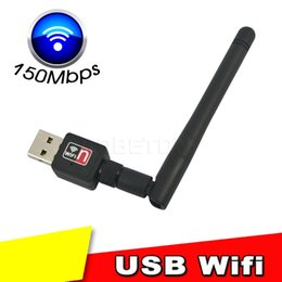 Wholesale High Speed Wifi Usb Wireless - Wholesale- 150mbps Mini Wireless USB Wifi Adapter With Antenna 802.11n g b Network LAN Card high speed For Laptop Desktop XP WIN 7 8 Linux