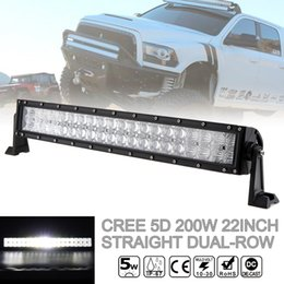 Wholesale 22 Inch Led Light Bars - 22 Inch 200W Car LED Straight Dual-Row Worklight Bar 40x 5D Chips Combo Offroad Light Driving Lamp for Truck SUV ATV CLT_42K
