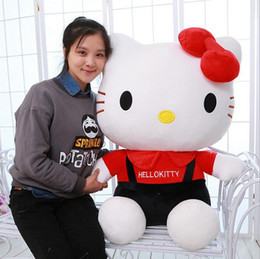 Wholesale Pink Doll Dresses - Dressed Hello Kitty Plush Cat Toy Giant Lovely Stuffed Hello Kitty Toys Doll Birthday Xmas Gift Pink Red 85cm 33inches