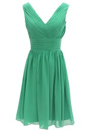 Wholesale Long Sleeve Cocktail Jacket - Short Cocktail Dresses Vestido De Festa Curto 2017 Dress for Graduation Green Chiffon V-Neck Cheap Party Gowns
