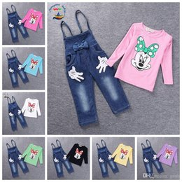 Wholesale Minnie Mouse Overall - 2017 Brand Baby clothes Girls Minnie Mouse suit Summer cotton Kids sets 2-pcs sets T Shirt+Jeans Overalls Girl Children Clothing Set 20PCS