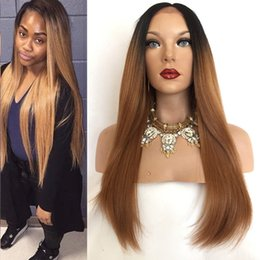 Wholesale Custom Indian Lace Wig - New Product Dark Roots Ombre 1B30 Straight Hair Wigs With Baby Hair Custom Full Lace Human Hair Wig