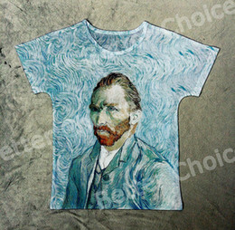 Wholesale Vincent Van Gogh Abstract - Track Ship+Vintage Retro Good Feeling T-shirt Top Tee Self Portrait Blue Abstract Cloud Vincent van Gogh Painting 0850