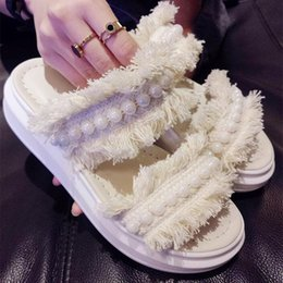 Wholesale Thick Crust Platform Shoes - Thick Crust Creepers Platform Slippers Shoes Pearls Beading Large Size 40 41 42 43 Customized Black Ivory Denim Euro Style Footwear