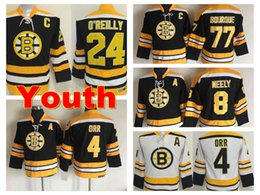 Wholesale Vintage Cams - Throwback Youth Boston Bruins Jersey 4 Bobby Orr 8 Cam Neely 77 Ray Bourque 24 Terry O'Reilly Kids Vintage CCM Home Black Ice Hockey Jerseys