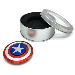 Wholesale Hot Selling Kids Toy - New Popular Fashion Hot Top Selling Fidget Toy Hand Finger Spinner Metal Bearing Finger Stress Spinner Captain America Shield ADHD EDC Toys