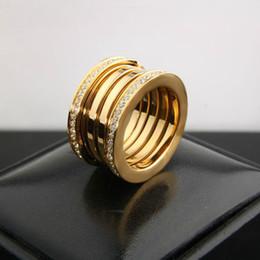 Wholesale Rhinestone Elastic Ring - Luxury Titanium Stainless Steel Elastic Multiwall Rhinestone Rings, Yellow Gold  Rose Gold  Silver Metal Colors Women Men Wedding Jewelry