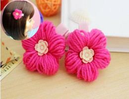 Wholesale Indian Bang Wholesale - Manual wool clip Fuschia hairpin fine workmanship Baby girls hair accessories flannelette bang clip