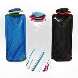Wholesale Pothook Bag - New Water Bag 700ML Portable Folding Sports Water Bag Outdoor&Climbing Foldable Sports Water Bottle With Pothook Free DHL