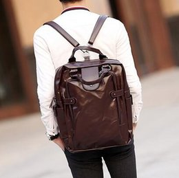 Wholesale Leather Envelopes For Men - factory sales brand bag retro multifunctional backpack mens personality Leather Laptop computer bag Chaonan for outdoor Backpack