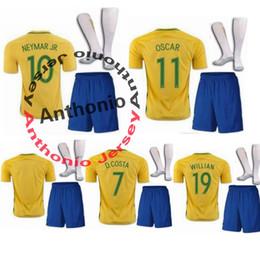 Wholesale Brazil Soccer - KIDS BRASIL BRAZIL CAMISA DE FUTEBOL NEYMAR JR JESUS WILLIAN OSCAR soccer jersey camisetas futbol thai thailand quality football jerseys