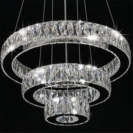 Wholesale Modern Long Chandeliers - AC100-240V Modern LED Chandeliers long Crystals Diamond Ring LED Lamp Stainless Steel Hanging Light Fixtures Cristal LED Lustre chandelier