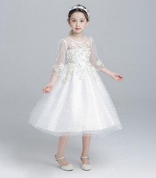 Wholesale Applique Patterns Kids - Solid Flowers Patterned Organza Dress Kids Girls Dresses Summer 2017 Girls Party Dress Bow Sash lace dresses