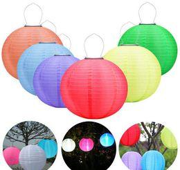 fate luce porcellana Sconti Lanterne solari 25cm impermeabile giardino esterno Fata Solar Lights Lanterne Festival LED Hanging Cina Celebration Lamp 7 colori