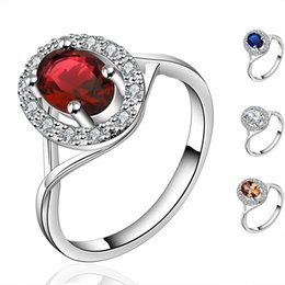 Wholesale Sapphire Ring Wholesaler - Inlaid Big Gemstone Ring Women Beautiful Fashion Silver Plated Ring with Sapphire & Ruby & White Cubic Zirconia Jewelry Party Accessories