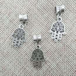 Wholesale Tube Bead Bail - hamsa hand necklace findings pendant bail connector bracelet charms tibet beads tube spacers jump rings fit chains leather cords