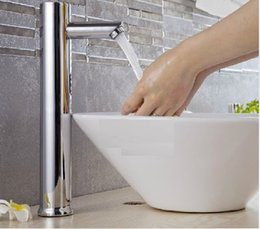 Wholesale Water Sensor Sinks - Wholesale- Hands Free Automatic Sensor Tap Hot & Cold Water Bathroom Basin Faucet Sink Mounted 220V or 6V battery power