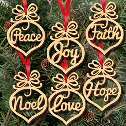 Wholesale Bubble Tree Lights - Christmas letter wood Heart Bubble pattern Ornament Christmas Tree Decorations Home Festival Ornaments Hanging Gift, 6 pc per bag OP286