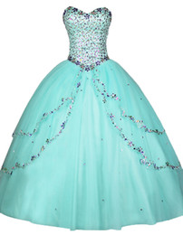 Wholesale Prom Dresses Ball Gowns Quinceanera - 2017 Rhinestones Beaded Quinceanera Dresses Ruffles Sweetheart Neck Custom Sweet 16 Dresses Vestidos de Quince Anos Prom Party Gowns