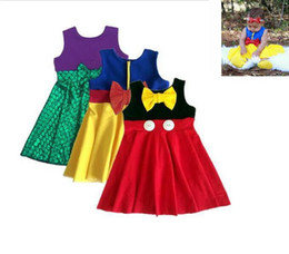Wholesale Minnie Bowknot Girl - Kid Girl Summer mermaid Dress Cinderella Minnie fish scale bowknot sleeveless vest princess dresses Party Fancy Dress 3 design KKA1549