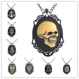 Wholesale Skull Cameos - Golden Skull Face Pendants Necklace Black Hand Painted Cameo Necklace For Men New Vintage Goth Steampunk Kitsch Jewelry Sweater Necklace
