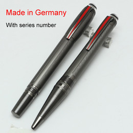 acessórios para placas Desconto Luxo MB caneta cinza Precioso Resina PVD-banhado fittings roller ball caneta / caneta esferográfica Escola Escritório papelaria marca escrita canetas de presente