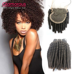 Wholesale Cheap Wholesale Kinky Curly Weave - Glamorous 8A Brazilian Virgin Hair 4Pcs lot Indian Mongolian Kinky Curly Human Hair Weave 3 Bundles with Lace Closure Cheap Hair Piece