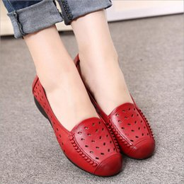 Wholesale Black Hole Office - Womens Hollow Casual Shoes Hole shoes soft 100% Genuine leather Low-cut Uppers woman shoes sandals size (35-40)
