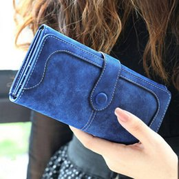Wholesale Korean Black Long Dress Casual - 2017 New Fashion Women Wallets & Holders Frosted PU Clutch Bags Card Holders Long Wallets European and American Style