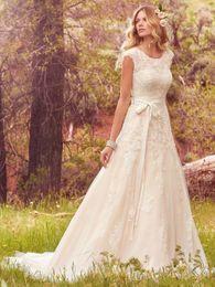 Wholesale Cheap Vintage Wedding Sash - Beautiful Lace Garden Wedding Dress With Sash Capped Tulle A-Line Cheap 2017 Train Arbic Ball Gown Vestido de Noiva Custom Bridal