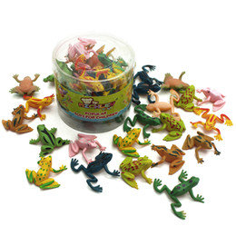 Wholesale Plastic Toy Frogs - 0.9'' Assorted Colors Rubber frogs Cute Plastic Poison Dart Frogs Toy for Decoration and Party 25pcs   lot ZJ-016