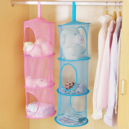 Wholesale Mesh Hanging Bag Space Saver Bags Color Net Multi Storey Storage Cage Cylindrical High Quality Hang Basket xj F R
