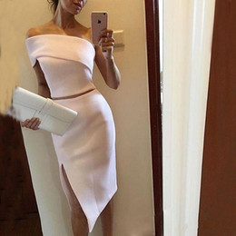Wholesale women pieces formal dress - Two pieces Knee Length Sheath Cocktail Dresses Cheap White One Shoulder Women Formal Evening Gowns Sexy Side Split Prom Dress plus size