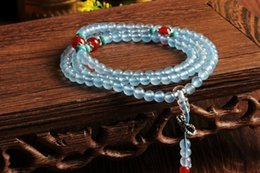Wholesale Light Jade Bangle - New 2017 Pure natural light blue chalcedony 108 beads bracelet Fashion 6mm For women&men Vintage jade jewelry