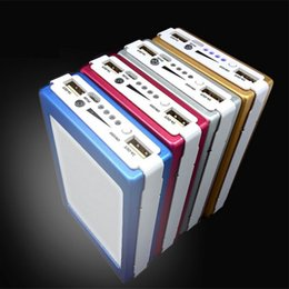 Wholesale Wholesale Commercial Led Lighting - New 20000 mAh Dual USB Portable Solar Battery Charger Portable Power Bank with LED Light Solar Battery Panel External Charger 5 colors
