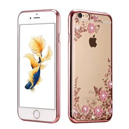 Wholesale Chinese Garden Blue - New Luxury Secret Garden Flowers Rhinestone Cell Phone Cases For IPhone 8  6S Plus 7 7 Plus Women Phone Case