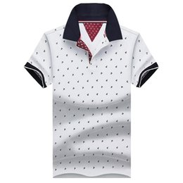 Wholesale Stand Collar Shirts Men - New Brand Polos Mens Printed POLO Shirts 100% Cotton Short Sleeve Camisas Polo Casual Stand Collar Male Polo Shirt 4XL