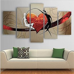 Wholesale Hotel Room Pictures - 5Pcs Hand-painted Oil Painting Set Modern Heart Abstract Picture Decorative Art for Home Living Room Bedroom Office Hotel Decor