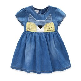 Wholesale Demin Shorts Girls - Girls Denim Dress 2017 New Summer Children Clothing Cat Patchwork Appliques Demin Dress Casual Kids Clothes
