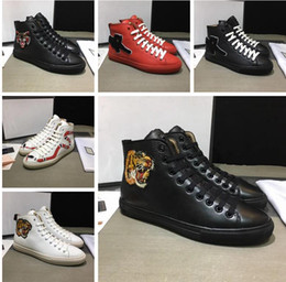 Wholesale Red Street Light - New Designer Casual shoes for Men Fashion Luxury Brand Tiger Snake Print for Love Sneakers High Top Genuine Leather Men G Street Shoes