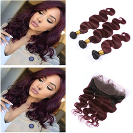 Wholesale Red Burgundy Hair - Dark Root Ombre 1B 99J Burgundy Two Tone Human Hair Weft Bundles With Full Frontals Wine Red Ombre Hair Weaves With Frontal Closure