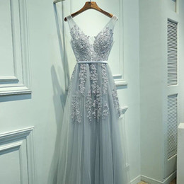 Wholesale Tulle Graduation Dresses - 2018 Cheap Real Silvery Prom Dresses V Neck Sleeveless A Line Floor Length Appliques Lace With beaded Soft Tulle Evening Graduation Dresses