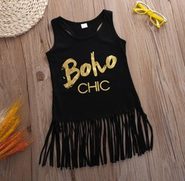 Wholesale Outfits Long Skirts - Fashion Cute Baby Girl Summer Tassel Black Dress Sleevesless Golden Letter Print Skirt Cotton Kid Clothe Children Party Outfit 0-5T Gift