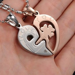 "Wholesale Heart Shape Couple Necklace - 1 Pair ""I Love You"" Couples Necklace Lock Key Heart Shaped Stainless Steel Lovers Pendant Necklaces"