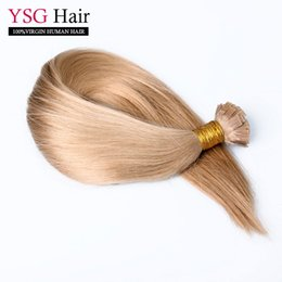 Wholesale Light Brown Fusion Hair Extensions - Best quality flat tip human fusion hair straight brazilian remy human hair extensions 100strand 1g strand light brown
