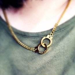 Wholesale Handcuffs Metal - Fashion engraved letter old silver rose gold men's pendant necklaces retro handcuffs metal pendants jewelry accessories
