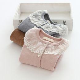 Wholesale Girls Lace Cardigan Jacket - Children fashion coat girls cotton round lace collar long beam sleeve button front cardigan 2017 new autumn kids princess clothes C0487