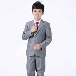 Wholesale Thin Lapel Piece Suits - Kid Suits For Wedding Boy Attire Tailor Made Suit Gray Wedding Suit(Jacket+Pants+vest) fashion style show thin three-piece