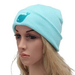Wholesale Whale Accessories - New Arrival Women's Cotton Hat Candy-colored Cap Cartoon Blue Whale Headgear Men's Winter Warm Elastic Beanies Hats Accessories