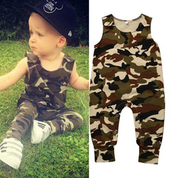 Wholesale Baby Girl Camo - Camo Jumpsuit 2017 Summer Baby Romper High Quality Clothing Kid Clothes Sunsuit Sleeveless Handsome Cool Boy Age 0-24M